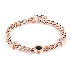 High Quality Stainless Steel Black Shell Roman Link Chain Numerals Charm Love Bracelet&Bangle Women Fashion Jewelry Bijoux Gifts #Affiliate