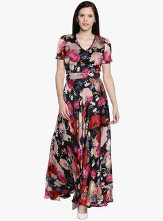 6b3d0ac9fd2 Buy Just Wow Black Coloured Printed Maxi Dress Online - 3640278 - Jabong