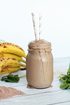 DELICIOUS Healthy Peanut Butter + Chocolate Smoothie. Tastes like a milkshake without the sugar or guilt!