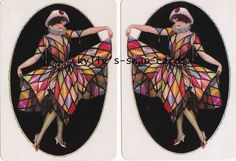 073 PAIR swap playing cards MINT CONDITION Art Deco harlequin lady colourful