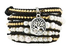 Womens Long Wrap Alloy Leather White Freshwater Cultured Pearls Bracelet with a Charm *** Read review @ http://www.amazon.com/gp/product/B00WH3TDGU/?tag=splendidjewelry07-20&pwx=140716013023