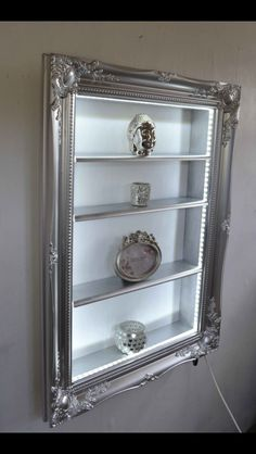 Perfume Storage Ideas and Inspiration For Karen Gilbert Repurposed Furniture, Painted Furniture, Furniture Makeover, Diy Furniture, Silver Glitter Wallpaper, Frame Shelf, Black Wallpaper Iphone, Frame Crafts, Display Shelves