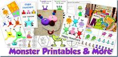 Monster Theme Printables and more {sensory bin, books, etc.}