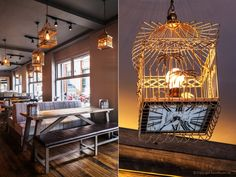 The assembled look of the furniture, reclaimed wood flooring and corrugated iron panels create an urban aesthetic. Playful finishes such as cement tables brandished with bird footprints, neon signage and birdhouse lighting injects the space with a youthful twist.