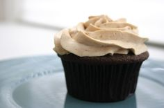 Mocha cupcakes (with vegan modification option)    Recipe at http://www.sharonstrands.com/folgers-in-your-cupcake/