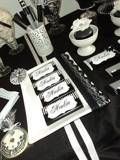 Glam Black  White Birthday Party treats!  See more party ideas at CatchMyParty.com!