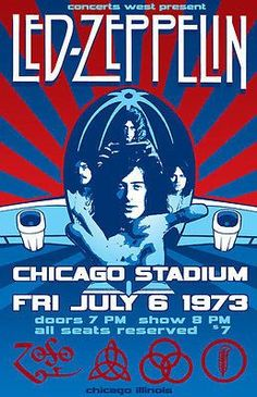 Led Zeppelin - 1973 - Chicago Stadium - Concert Poster