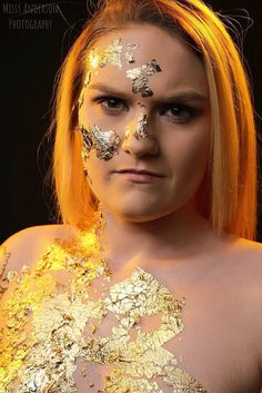 This Gold Flake Idea was so much fun, We added some orange lighting to really catch attention! I recommend trying it! #goldflake #orange #lighting #beautiful #models #photography #photograph #photographer #studiophotography #models #femalemodels