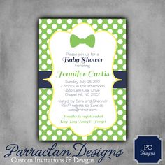 Boys Baby Shower Invitation Bow Tie Little Man by ParraclanDesigns, $12.00