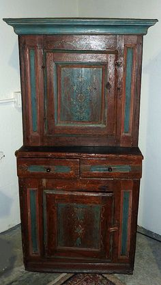 Nice antique pine cupboard. I love the original blue paint!