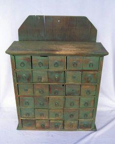 Vintage 30 Drawer Apothecary Spice Cabinet Cupboard Oak Primitive Antique wantttt