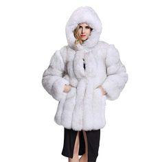 d9b8336250ed3 Rvxigzvi Womens Faux Fur Coat Parka Jacket Long Trench Winter Warm Thick  Outerwear Overcoat Winter Fur