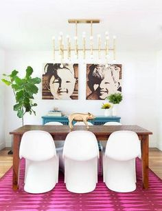 bright colors and statement chairs.