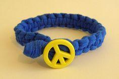Neon Yellow Peace Sign Macrame Bracelet