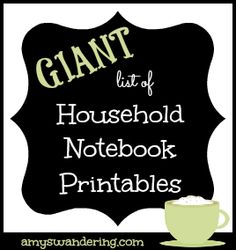 Giant List of Household Notebook Printables