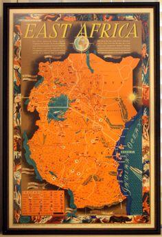 Original vintage travel advertising poster for East Africa - Kenya, Uganda, Tanganyika (formerly part of German East Africa; now Tanzania). Framed on request. www.AntikBar.co.uk