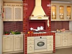 Many homeowners straight off categorize backsplash equally an of import kitchen characteristic 17 Red Kitchen Backsplash Ideas for Those Who Like Country Kitchen Backsplash, Country Kitchen Cabinets, Kitchen Cabinet Layout, Farmhouse Kitchen Decor, Kitchen Sink, Best Kitchen Layout, Kitchen Layouts With Island, Red Country Kitchens, Cool Kitchens