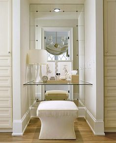 Create a Dressing Table Turn a tiny alcove into a dressing table with a mirrored wall, a floating glass shelf, and an upholstered stool. @ DIY Home Design Interior Design Blogs, Small Dressing Rooms, Floating Glass Shelves, Floating Vanity, Closet Vanity, Upholstered Stool, Master Closet, Master Bedroom, Interior Exterior