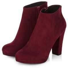 Dark Red Zip Side Heeled Boots ($17) ❤ liked on Polyvore featuring shoes, boots, ankle booties, heels, sapatos, red, red heel boots, round toe booties, mid heel booties and mid heel ankle booties