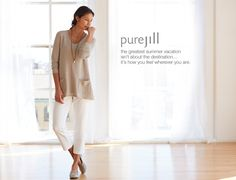 pure jill elliptical pullover, pure jill slim crops & pure jill pearlescent necklace