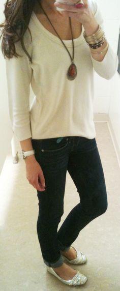 Sweater: NY&C ($2.99)  Jeans: AE  Shoes: Gift  Belt: F21  Necklace: F21  Bracelets: H&M/Gap