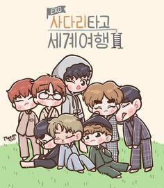 51 Trendy Ideas For Wall Paper Kpop Exo Fanart Kpop Exo, Exo Variety Shows, Baekhyun, Exo Cartoon, Exo For Life, Exo Anime, Fan Drawing, Exo Fan Art, Exo Lockscreen