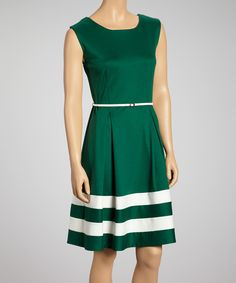 Take a look at this Green & Ivory Stripe Belted Dress on zulily today!