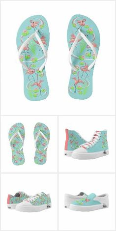 Fitness Clothing, Pink Flamingos, Keep It Cleaner, Retro, Stylish, Blue, Collection, Shoes, Zapatos