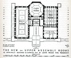 """Floor plan of the Upper Rooms,Bath from Walter Ison's book, """"The Georgian Buildings of Bath"""""""