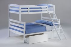 Twin over Full Saraland Hardwood Bunk Bed in White with FREE SHIPPING nationwide!  http://www.bunkbedkingdom.com/products/twin-over-full-saraland-hardwood-bunk-bed-white.html