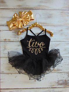 Gold Glitter Birthday Black Leotard with Tutu - Spaghetti Strap One Piece Leotard Dress - Toddler Second Birthday - Girl Birthday Oufit