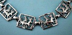 Vintage Silvertone Link Bracelet  Cut Out Deer by vintagejunque