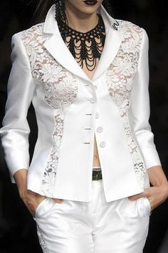 White Lace Blazer to Add to Your Clothes More Charming and Lingerie Look, Lace Blazer, Fashion Details, Fashion Design, White Fashion, White Lace, Black White, Fashion Dresses, My Style