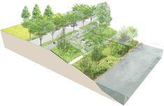 Landscape Gardening In Japan Landscape Concept, Landscape Architecture Design, Architecture Graphics, Urban Architecture, Landscape Plans, Urban Landscape, Urban Design Diagram, Urban Design Plan, Biophilic Architecture