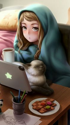 Shared by Artemida. Find images and videos about anime, cat and wallpaper on We Heart It - the app to get lost in what you love. Cartoon Girl Images, Cute Cartoon Girl, Anime Girl Cute, Cartoon Art Styles, Anime Art Girl, Girly Drawings, Anime Girl Drawings, Cute Cartoon Wallpapers, Animes Wallpapers