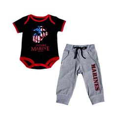 This 2 pc set includes one black bodysuit screen printed with an American Flag EGA, and soft jersey coordinating pants with elastic waist. Licensed by the United States Marine Corps.