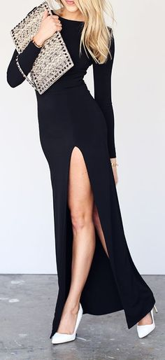 36 Chic Little Black Dress Styles - Style Estate - Black Slit maxi #LBD