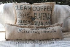 DIY:: Coffee Sack Pillows - easy. Would look great with the sacks from Hawaii :)