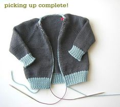 Sweater Techniques Series – Gramps Baby Cardigan – 5 / 6 : Shawl Collar and Button Band Baby Sweater Knitting Pattern, Baby Boy Knitting, Knit Baby Sweaters, Knitting For Kids, Baby Knitting Patterns, Knitting Stitches, Baby Patterns, Baby Pullover, Baby Cardigan