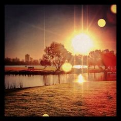 South Perth pond with river in background. Lighting effects edit.