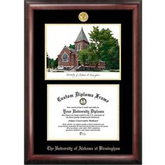 University of Alabama, Birmingham 8.5 inch x 11 inch Gold Embossed Diploma Frame with Campus Images Lithograph