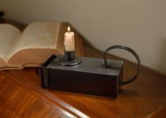 $18 Primitive-Vintage-Silver-Black-Metal-Early-American-Tinder-Box-Candle-Holder