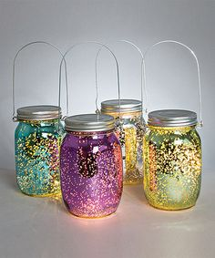 Loving this Yellow & Purple Spring Glass Mason Jar Lantern Set on #zulily! #zulilyfinds