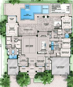 California Split House Plans Beautiful Plan We Spacious Florida House Plan In 2019 Dream House Plans, House Floor Plans, My Dream Home, Colonial House Plans, Modern Floor Plans, Courtyard House Plans, French Country House Plans, Garage House Plans, Contemporary House Plans