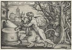 Hans Sebald Beham (1500-50) - The Labors of Hercules: Hercules Strangling the Nemean Lion (1548) engraving; Cleveland Museum of Art