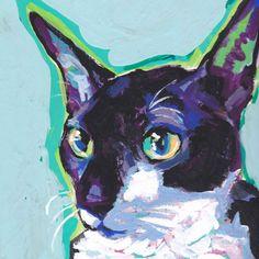 Cornish Rex Cat Art Print of an Original pop art painting, 12x12 will be signed by artist LEA of #BentNotBroken on Etsy♥•♥•♥