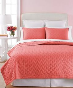 Martha Stewart Collection Basket Stitch Quilts (Coral) | macys.com