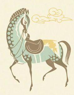 Horse Illustration, Motifs Animal, Horse Drawings, Fine Art Prints, Canvas Prints, Equine Art, Illustrations, Orient, Horse Art