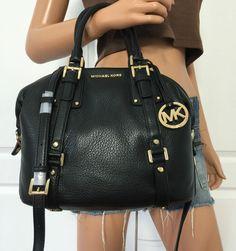 Michael Kors Black Medium MK PEBBLED Leather Satchel Tote Crossbody Shoulder Bag   eBay