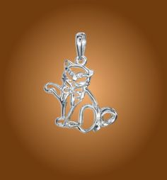 Sterling Silver Silhouette Cat Pendant with Bow. https://www.wekittycats.com/collections/jewelry/products/sterling-silver-silhouette-cat-pendant-with-bow